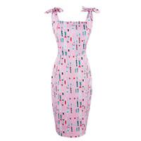 vestido correa de espagueti rosa caliente al por mayor-2017 mujeres calientes del verano bodycon pink correa de espagueti vestido de cuello cuadrado de impresión sexy dress sin mangas de la envoltura femenina vestidos ajustados