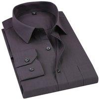 ingrosso camicia di colore blu-Camicia elegante da uomo Tinta unita Plus Size Camicia a maniche lunghe da uomo business casual chemise homme nera bianca blu grigio