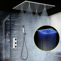 paneles de ducha led al por mayor-Conjunto de ducha termostática oculta SUS304 Panel acabado en espejo con techo empotrado de ducha LED empotrado en el techo 20