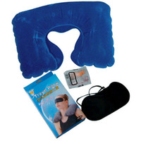 Wholesale cushion ear pad - 3 In 1 Neck Air Pillow Ear Plug Eye Mask Travel Kit Set Inflatable U-Shape Air Travel Pillow Cushion Neck Rest Camping Flight