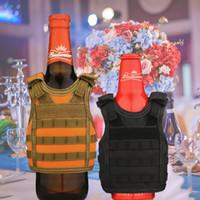 refroidisseurs en nylon achat en gros de-7 couleurs gilet tactique bière bouteille de boisson refroidisseur gilet Molle mini gilets de chasse modèle coupe manches manches sangles d'épaule réglables boissons refroidisseurs