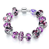 encanto european purple murano beads venda por atacado-Moda Estilo Europeu Charme Pulseira De Prata Com Contas de Vidro Murano Roxo DIY Moda Jóias Frete Grátis