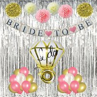 Wholesale latex flowers balloon - Bride To Be Glitter Banner for Bridal Shower, Paper Pompoms Flowers, Themed Party Banner, Ring Foil Balloon, 27pcs Latex Balloons Kit