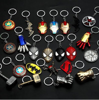 Wholesale Batman Superman Toy - Hot Sale Captain America Shield Keychain The Avengers Superman Superhero Batman KeyChain Ring Key ring Fashion Accessories
