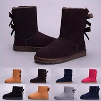 Wholesale faux leather ladies for sale - New arrival WGG Women Australia Winter boots kneel half Boots Ankle Black Grey chestnut navy blue red Women lady girl boots eur