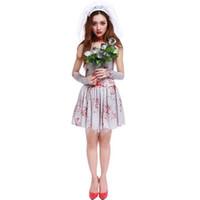 7b8be9ca5b81 Halloween Purim Spaventoso sangue bianco Zombie Corpse Bride Costume  Costumi per adulti Cosplay Dress For Women Ghost Doctor Nurse