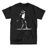 pamuk jackson toptan satış-2018 Pamuk T Shirt Giyim Kısa Grafik Michael Jackson Illüstrasyon Erkekler Için O-Boyun Tees
