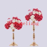 vasos de cristal para centrais venda por atacado-10 pçs / lote 34CM 49CM Crystal Centerpiece suporte de vela decoração de mesa de casamento peça central Road Lead Metal Flower Rack Vase