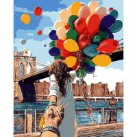 ballon acryl großhandel-Rahmenlose Romantische Hot Balloon Diy Malen Nach Zahlen Moderne Wandkunst Leinwand Gemälde Acryl Handbemalt Für Einzigartiges Geschenk