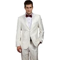 klasik adam siyah beyaz takım elbise toptan satış-Düğün Suit Adam 2018 Son Pantolon Ceket Pantolon Ile Tasarım Suits Set Erkek Parlak Beyaz Slim Fit Klasik Kostümleri Siyah-kravat Elbise