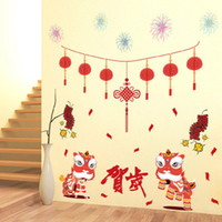 Wholesale Glass Fireworks - Chinese Style Red Lantern Firecrackers Fireworks Lion Dancing Wall Sticker Home Decor Spring Festival Home Decor Wall Decals Graphics Poster