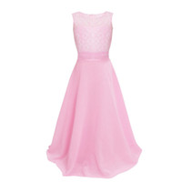Wholesale Teen Knee Length Party Dresses - Teens Girls Dresses 2017 Girls Evening Dress Kids Clothes for Wedding Children Girl Bow Pink Lace Dress for Teenagers Party