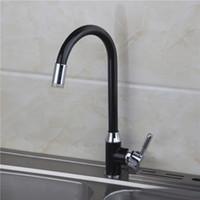 Wholesale Color Changing Paint - Xueqin LED 3 Color Changing Basin Bathroom Sink Faucet Deck Mount Black Painting Single Handle Kitchen Black+Silver Hot Sale