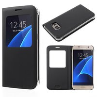 Wholesale shockproof flip phone - For Samsung S9 S8 Plus Leather Flip Mobile Phone Case For Samsung Galaxy S7 Window View ShockProof Cover For Iphone 7 8 Case