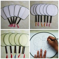 Wholesale wooden fan handles - 3 Designs DIY Drawing Graffiti Silk Fan Wooden Handle Blank Round Fan Party Supplies Arts and Crafts AAA246