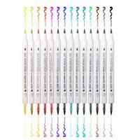 Wholesale old paint brushes resale online - Fashion Premium Colors Gradient Watercolor Art Marker Set Water Soluble Double Color Brush Marker Pen for Design Manga Comic