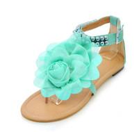 nuevo verano sandalias de tacón bajo al por mayor-Nuevas llegadas Sandalias de las mujeres de tacón bajo Zapatos Mujer Hohemia Estilo Flor ocio de verano Zapatos de playa Tamaño grande 34-43