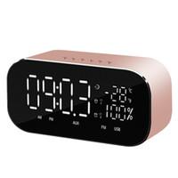 uhr radio mini usb großhandel-Mini Portable Bluetooth Lautsprecher Temperatur LCD Display FM Radio USB Wecker Wireless Stereo Subwoofer Musik Player Radio