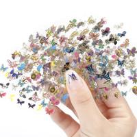 hojas de diseño de animales al por mayor-Blueness 24 hoja modelo de mariposa de belleza estampado en gel manicura pegatinas para uñas Diy Animal Design 3D Nail Art Tips calcomanías