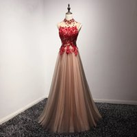 Wholesale open back white cocktail dresses - Gorgeous 2018 Prom Dresses With Sheer Neckline Appliques Beads Open Back And Lace Up Cocktail Party Gowns A Line Tulle Evening Dress