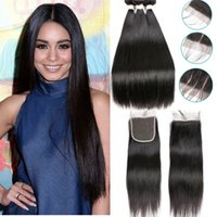 Wholesale 100 virgin brazilian hair - Brazilian Straight Human Hair Bundles with Closure Unprocessed Virgin Hair Bundles with Lace Closure Natural Color Brazilian Hair