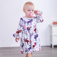 bebekler için bebek elbiseleri toptan satış-Bebek Noel Elbiseler Santa Ağacı Geyik Elk Kar Tanesi Fırfır Fırfırlar Diz boyu Pagoda Kollu Elbise Bebek Yürüyor Bebek Kız Giysi ...