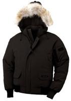 kürklü kaput bombardımanı ceketi toptan satış-En kaliteli Kış Erkekler Bombacı Homme Parka Jassen Kamuflaj Giyim Büyük Kürk Kapşonlu Fourrure Manteau Aşağı Ceket Kaban Hiver Kanada Doudo ...