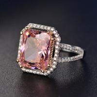 ingrosso anello topazio rosa-S925 Anelli Per Le Donne Sterling Silver Rosa Big Square Topaz Diamant Fine Jewelry Nuziale Anello di Fidanzamento Bijoux Di Lusso Y18102510