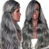 волосы бразильский парик продать оптовых-Лучшие продажи 130% плотность Ombre 1b серый человеческих волос парики серебряный серый парик фронта шнурка бразильский полный парики шнурка с темными корнями