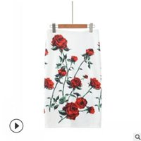 blumendruck bleistift röcke großhandel-2019 heißer verkauf frauen bleistiftrock mit hoher taille engen bürorock mit floral bedruckten mode schlank casual paket hüfte rock