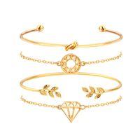 gold tennis armband kristalle großhandel-JAVRICK 4pcs böhmische geometrische Blatt-Knoten-Kristallarmband-Armband-Goldton-Schmucksachen