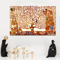 ingrosso stampe di tela di vita dell'albero-Gustav Klimt Tree of Life Canvas Painting Wall Art Prints Posters Classical Abstract Oil Paintings For Living Room Unframed