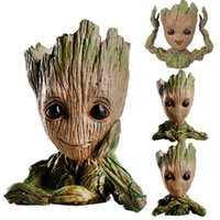 Wholesale car actions online - Tree Man car decoration hands up Action Figure Guardians of The Galaxy pen pot flower pot Toy groot The Galaxy Model dolls