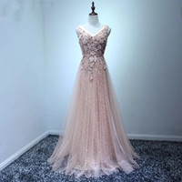 Wholesale Long Sleeve Fitted Lace Dresses - 2018 Blush Pink Women Prom Dress A line Fitted Long Formal Maxi Gowns for Special Occasion Vestidos de Noiva Longa