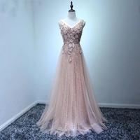 ingrosso vestiti di vestito chiffon indietro-2018 Blush Pink Women Prom Dress Una linea aderente lungo maxi abiti formali per Occasioni speciali Abiti da Noiva Longa