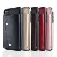 ingrosso cassa del portafoglio per iphone 6s di apple-Portafoglio ID Card Slot Leather per Iphone X 8 7 6 6S Plus Galaxy S9 S8 Note 8 Soft TPU Custodie in silicone Cover magnetica + Strap Holder Deluxe