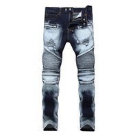 0d563d4d Wholesale jeans dropshipping for sale - 2018 New Dropshipping Ripped Biker  Jeans Men Skinny Elastic Pleated