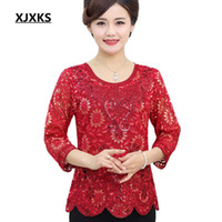 Wholesale purple floral sheets resale online - XJXKS Womens tops and blouses Summer Fashion Metal sheets applique Round Neck Three Quarter sleeve Women s Shirt
