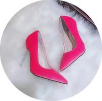 farbe hochzeit schuhe großhandel-Damen Marke Wild Wildleder Wildleder High Heels Sandalen Sexy Slip-on Party Hochzeit 6 Farbe Kleid Schuhe
