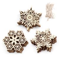 Wholesale wood embellishments - 10 Pcs Wood Snowflake Embellishments Rustic Christmas Decorations For Home Xmas Tree Hanging Ornament Navidad Decor
