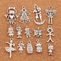 Wholesale hot pretty girls - 140pcs lot Mix Pretty Girl Boy Angel Charm Beads Alloy Handmade Jewelry DIY Pendants LM54 hOT SELL