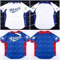 Wholesale korea baseball for sale - Group buy Men Team South Korea World Baseball Classic Away On Field Jersey Custom High Quality White Navy Baseball Jerseys