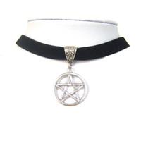 """Wholesale faux suede necklace - whole saleBlack 10mm Flat Faux Suede Cord Pentagram Charm 13"""" Choker Necklace 90s Jewelry"""