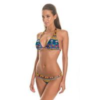 a2245cacef Nouveau Design Unique Style National Impression 3D Bikinis Définit Thong  Bottom Maillots De Bain Fleurs Style Ethnique Triangle Bikini Femmes Slip  Briefs