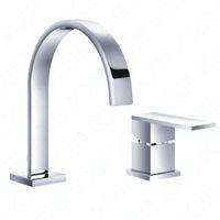 banyo muslukları krom toptan satış-ROLYA 2-hole Havzası Musluklar Yan Kontrol Prinç Güverte Üstü Banyo Lavabo Mikser Dokunun Krom