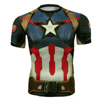 mallas de capitán américa al por mayor-Ropa de secado rápido para hombres y mujeres cosplay The Incredible Hulk Capitán América Iron Man The Avengers Tights T-shirt