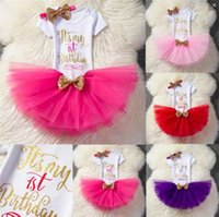 Wholesale winter birthday outfits baby girls - Baby letter outfits girls Sequins Bow headband+letter romper+TuTu lace skirts 3pcs set Boutique kids Birthday party Clothing Sets