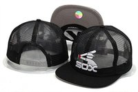 Wholesale plastic cap design - Hotsale Sport White Sox Baseball Mesh Design Hats Brands summer Out Door Mesh Fresh Snapback Hats with Plastic snapback closure For Sale