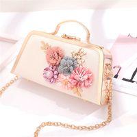 ingrosso borse di fiori 3d-Sacchetto di sera delle donne del fiore 3D Sacchetto di cerimonia nuziale del partito della borsa del messaggero della piccola borsa della spalla del blocco per grafici floreale della catena del metallo Minaudiere