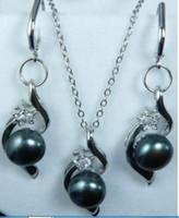 boucles d'oreilles en perle akoya noir 14k achat en gros de-Pretty! Black Akoya Pearl Necklace + Ensemble de boucles d'oreilles
